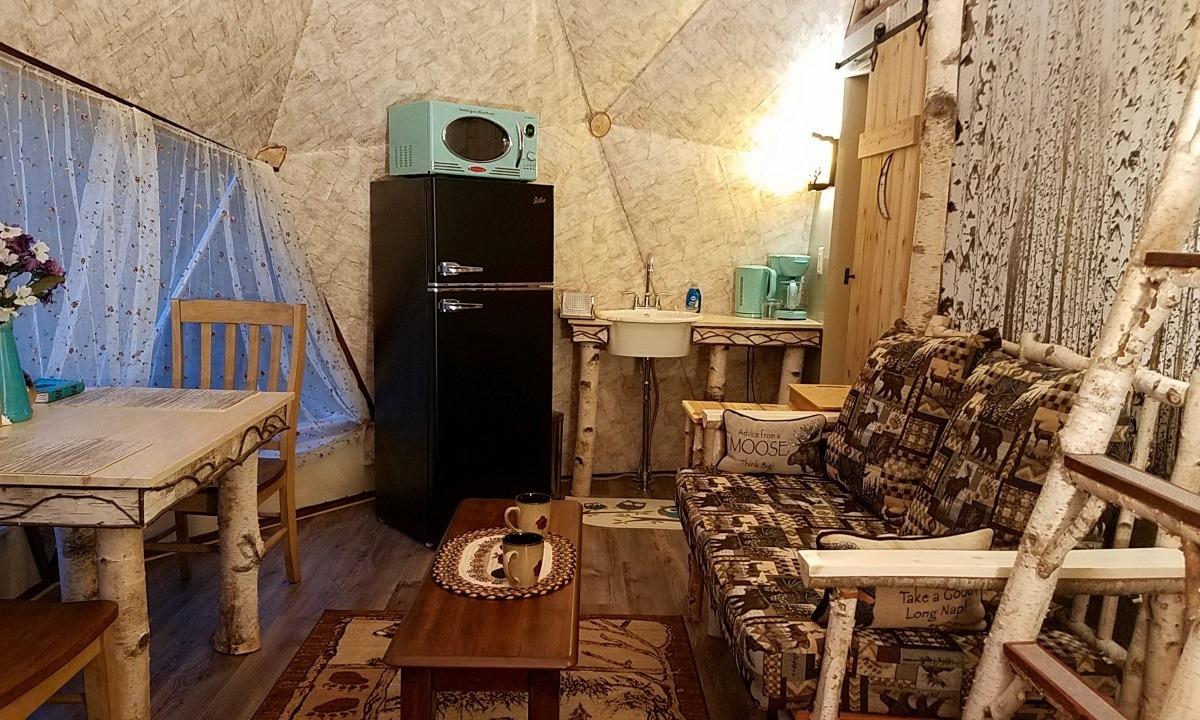 Kitchenette: retro fridge, microwave, custom built birch vanity/sink