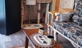 Retro fridge, microwave, custom built birch vanity/sink, sliding cedar barn door
